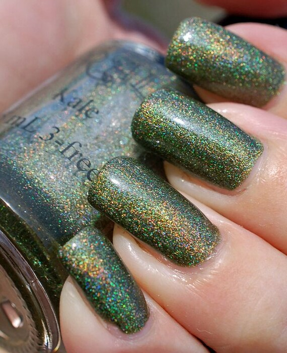 Kale. Dark green holo nail polish. 15 mL .5 oz