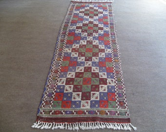 kilim rug runner free shipping VINTAGE TURKİSH  cecim runner kilim Anatolian kilim  decorative kilim - SİZE : 32'' X 108 '' (80 cm X 270 cm)