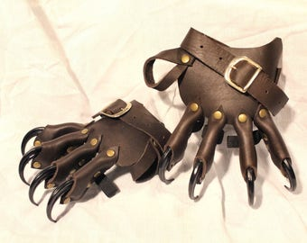 Leather Four Clawed Hand Wrap  -Dark Brown-  -sold as pair-