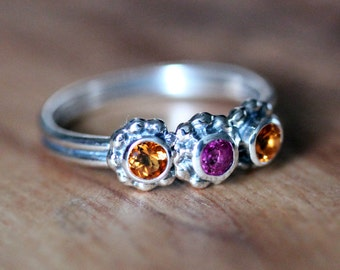 Mothers ring birthstones, 3 stone ring, birthstone ring, unique mothers ring, gemstone ring, three stone ring, crush ring trio, custom made