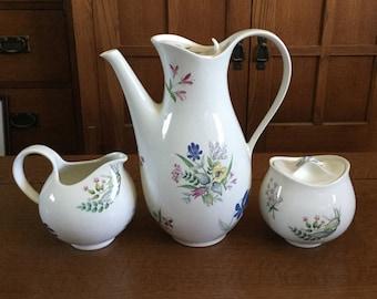 Hallcraft BOUQUET 3 Pc Coffee Pot Creamer Sugar Set Eva Zeisel Hall 1950s Pattern 1881