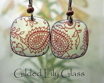 Henna Pattern Enamel Earrings, Copper Enamel Jewelry Handmade in North Carolina