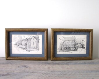 Pen and Ink Drawings by C M Goff Matted and Framed with Glass Set of Two