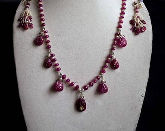 Carved Burma Ruby and Pearl Necklace with Earrings