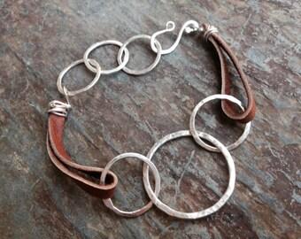 Silver Eternity Bracelet, Silver Leather Bracelet, Three Circle Bracelet