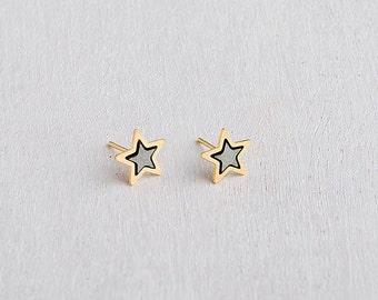 Small Star Earrings Silver Star Earrings, Black Star Earrings, Small Stud Earrings Star Ear Studs, Everyday Earrings Star Earrings For Girls