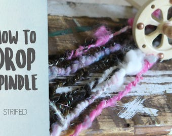 SPINDLING Striped Art Yarn - How to Spin Art Yarn on a Drop Spindle - One HD Video Tutorial from How to Spin Yarn