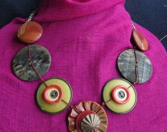 Vintage Button Statement Necklace