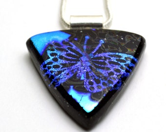 Butterfly Dichroic Glass Pendant Necklace