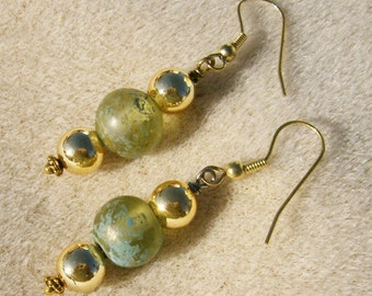 Vintage Bead Earrings - Beautiful Green Glass Vintage Beads with Gold by JewelryArtistry - E478