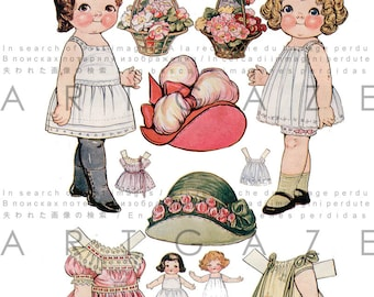 Dolly Dingle & Her Mama At Dolly's Age. Rare Cool Digital Paper Dolls. Vintage Dress Up Dolls Grace Drayton Printable.