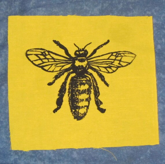 Honey bee patch black ink on yellow fabric bee patch like this item ccuart Images