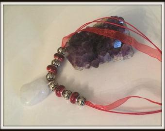 Clear Quartz European Beaded Ribbon Statement Necklace ~ Gemstone Necklace ~ Ribbon Necklace ~ Beaded Necklace ~ Red Necklace ~ Red Jewelry