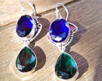 Blue Sapphire, Green Tourmaline Earrings