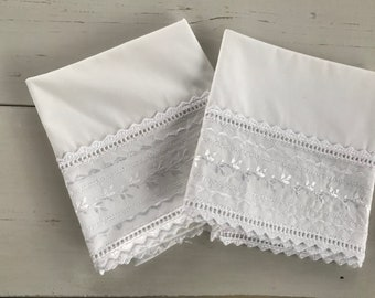 Vintage shabby cottage style white embroidered pillowcases-JC Penny