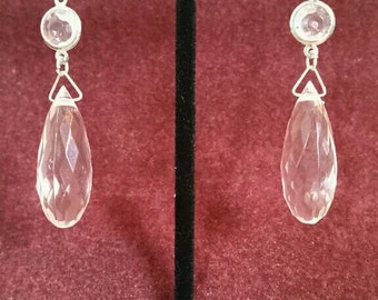 Rock These Elegant Silver Drop Earrings With A Briolette And Window Bead ~ E408