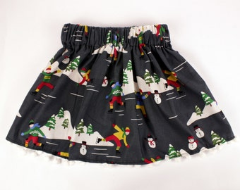 Girls Grey Winter/Holiday/Christmas Skirt with Pom Pom Trim