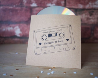10x personalised mixtape style CD cover / sleeve wedding favour for music lovers or music theme