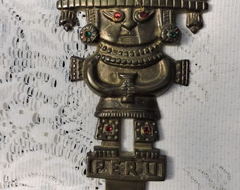 Vintage Peru Solid Brass Inca Sacrificial Ritual Knife Wall Hanging with Red & Green Jewels