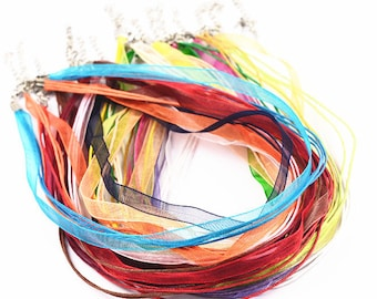 10Pcs - Colors Mixed Cord Necklace String - Waxed Cord Necklace - Organza Necklace Ribbon - Bulk Lot Wholesale Organza Ribbon Necklace