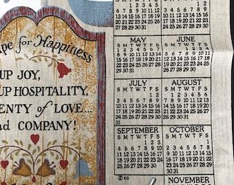 Vintage 1988 Tea Towel Calendar Linen Country Scene Farmhouse Vintage Cloth Wall Kitchen Calendar New Never Used 1988 Birth Year Cottage