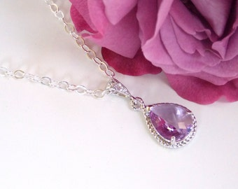 Bridesmaid Jewelry, Lavender Necklace, Violet, Lilac, Purple, Sterling Silver, Cubic Zirconia, Pendant Gift, Wedding Gifts, Bridesmaid Gifts