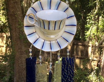 Vintage Demitasse Cup and Saucer Repurposed and Upcycled into a Windchime with Cobalt Blue Stained Glass Chimes