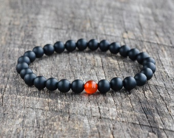 6mm Carnelian Bracelet Matte Onyx Bracelet Mens Black Bead Bracelet Womens Gemstone Bracelet Stacking Yoga Bracelet Jewelry Gifts