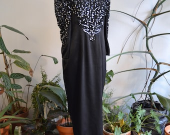 Black & Silver Beaded Silky Dress, size Medium