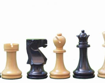 "The Staunton Series Weighted Chess Pieces in Dyed wood & Box Wood - 3.8"" King.SKU: S1241"