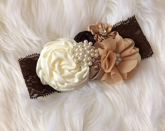ivory vintage rosette headband , girl couture headband