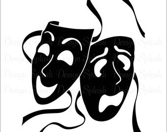 Comedy Tragedy Drama Theatre Masks Vinyl Decal S-101