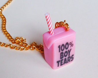 100% Boy Tears Juice Box Necklace, Feminist Necklace, Kawaii Cute Necklace, Feminism Choker, Food Jewelry, Male Tears Pendant