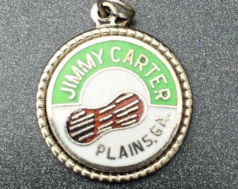 Jimmy Carter National Historic Site Charm, Green and White Enamel charm, Plains Georgia Charm, Sterling Silver Vintage Souvenir Charm