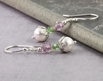 Lavender Earrings Light Green Earrings Lilac Wedding Earrings Peridot Bridal Jewelry August Birthstone White Pearl Earrings Summer Fashion