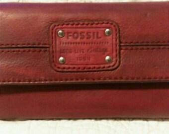 Vintage Plum Purple Fossil Leather Wallet