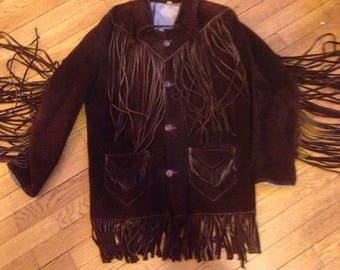 TRUE VINTAGE Fringe Suede LEATHER Jacket Coat Western Cowboy S/M Chocolate Brown Hippie Haight Ashbury Psych Psychedelic Heavy San Francisco