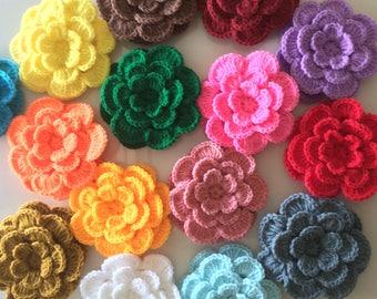 "Lot 12 pcs Crochet Flowers Handmade Applique 3 layers, 7 petals, Embellishment sewing in multi-color size 2.75 """