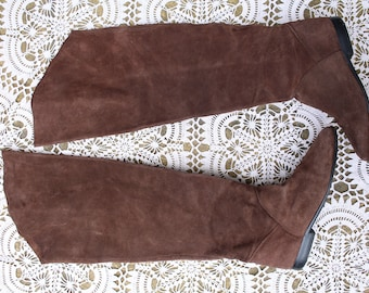 Vintage original brown 70s hippy over the knee suede leather boots uk size 7 Eur 40 us 9