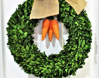 Easter Carrot Wreath, Boxwood Wreath ,Natural  Dried Boxwood wreath ,Carrot Wreath . Spring Wreath, Summer Wreath