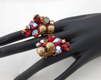 Red Rhinestone and Pearl Earrings Signed Kramer NY