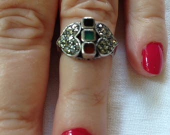 Sterling Silver Marcasite Accents with Black, Green and Red  Square stones