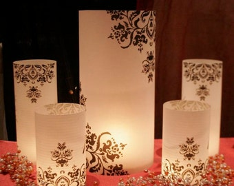 """11"""" tall Custom Table number Luminaries for centerpieces, table numbers at wedding, events, balls"""