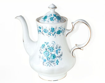 Colclough Braganza Coffee Pot, Hyacinth Bucket's 'Hand Painted Periwinkles', 1970's Colclough Blue / White Gold Trim 2-Pint Coffee Pot