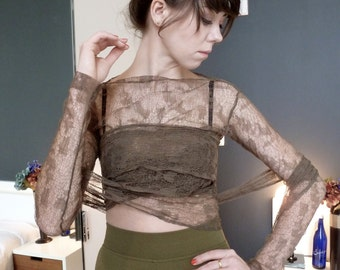 Romeo Gigli Sheer Lace Wrap Top Cropped Bare Midriff Renaissance Romantic Taupe 1980s NEW Vintage