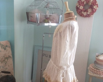 Woodland Tunic Fairytale White Cotton and Antique Lace Lagenlook Enchanting
