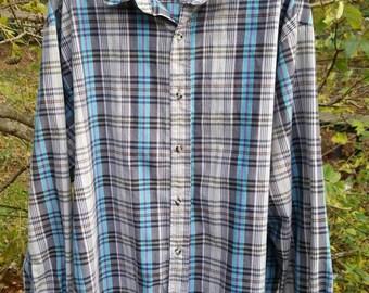 Men's Vintage 90s Button Up Plaid Gitano Shirt / Mens Vintage Gitano Button Up
