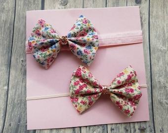 Floral baby headbands, 100% cotton fabric bows, summer hair bows