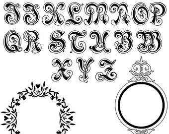 Royal Alphabet Monograms - Ceramic Waterslide Decal - Enamel Decal - Fusible Decal - 552879