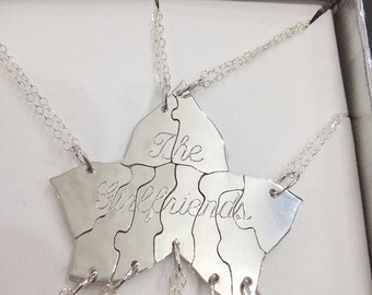 Sterling Silver Ivy Leaf Puzzle Necklace - Custom Engraving